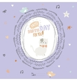 Happy Birthday card with greeting wish and cute vector image