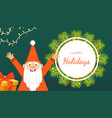 happy holidays banner template with cute happy vector image vector image