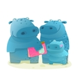Hippo Family Mother Father and Kid with Book vector image