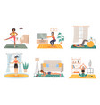 home sport training female fitness activity vector image