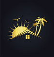 hotel house tropic sunset gold logo vector image vector image