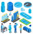 isometric water purification set vector image vector image