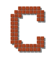 Letter C made from realistic stone tiles vector image