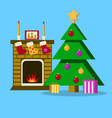 living room with christmas tree fireplace vector image vector image