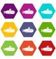 long submarine icons set 9 vector image vector image