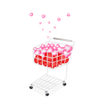 lovely little hearts in a shopping cart vector image vector image