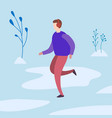 man runs in the winter in the park vector image