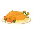 Meal on dish roasted turkey vector image
