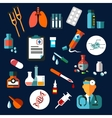 Medical flat icons with medication and diagnostics vector image vector image