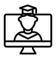 online educationa line icon student on monitor vector image vector image