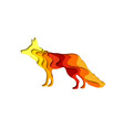 paper cut shape fox 3d origami vector image