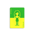 playing card with joker in green and yellow design vector image vector image