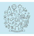 School and education outline icons vector image