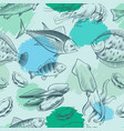 sealife seamless pattern with grunge elements vector image