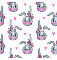 seamless pattern with cute rabbit face with a vector image vector image