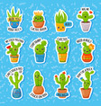 set of cute cartoon cactus and succulents with vector image vector image