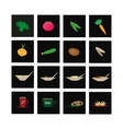 Set of icons of vegetables and culinary vector image