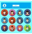 Set of male and female faces avatars icons vector image