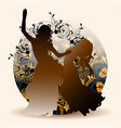 silhouettes of oriental dance vector image vector image