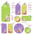 spring sale tags with cherry flowers vector image