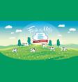 summer scenery with herd cows in cartoon style vector image vector image