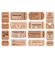 theatre retro tickets theater admits templates vector image vector image