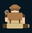 tourist hipster man with a suitcase and a compass vector image vector image
