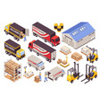 warehouse services isometric set vector image