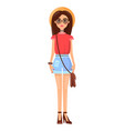 woman with hat summer mode vector image