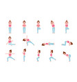 yoga postures set flat design vector image