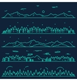 Set horizontal mountains fir forest linear style vector image
