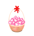 A Brown Basket of Stack of Hearts vector image vector image