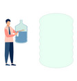 a man a water delivery officer text bubble in vector image vector image