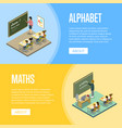 alphabet and maths lessons at school vector image vector image