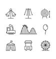 Amusement park icons in thin line style vector image vector image