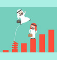 arab businessman jumping from spring chart vector image vector image