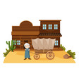 arab man stands in western town vector image vector image
