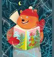bear reading book on christmas holidays greetings vector image