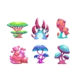 Beautiful fantasy mushrooms set vector image