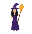beautiful witch with a broom for halloween vector image