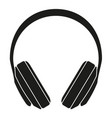 black and white headphones silhouette vector image vector image