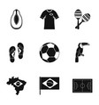 brazilia icon set simple style vector image vector image