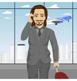 business man at airport standing with with luggage vector image vector image