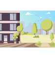 cartoon building in park area vector image