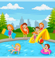 cartoon happy family playing in swimming pool vector image vector image