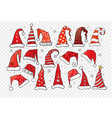 collection of red christmas hats vector image vector image