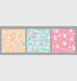 collection seamless patterns with unicorn cats vector image