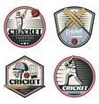 colored vintage cricket sport emblems set vector image