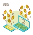 Conceptual image with social networks vector image vector image