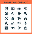 construction icons set with pick man with drill vector image